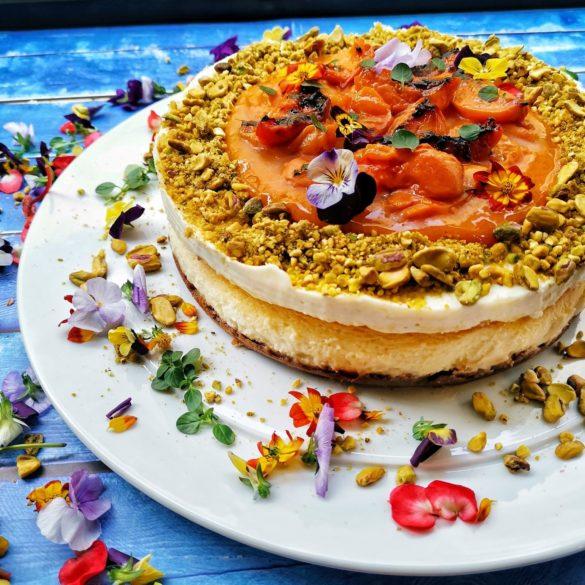 עוגת גבינה ניו יורק עם משמשים צלויים בטימין ופיסטוקים